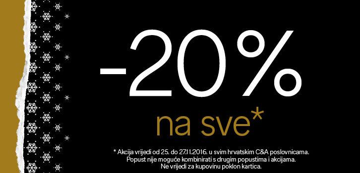 C&A  – 20% popusta na sve