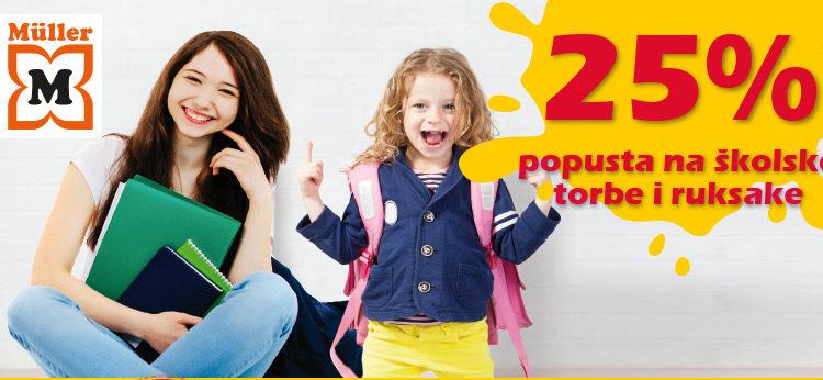 Müller: 25% popusta na školske torbe i ruksake