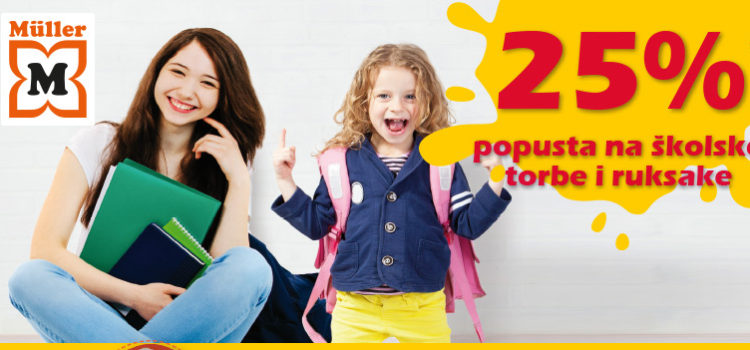 Müller: 25% popusta na školske torbe!