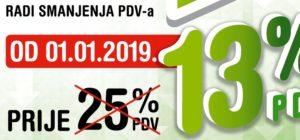 Niže cijene radi sniženja PDV-a